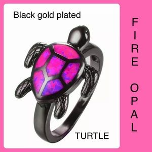 Pink Fire Opal TURTLE Ring Black Gold Plated